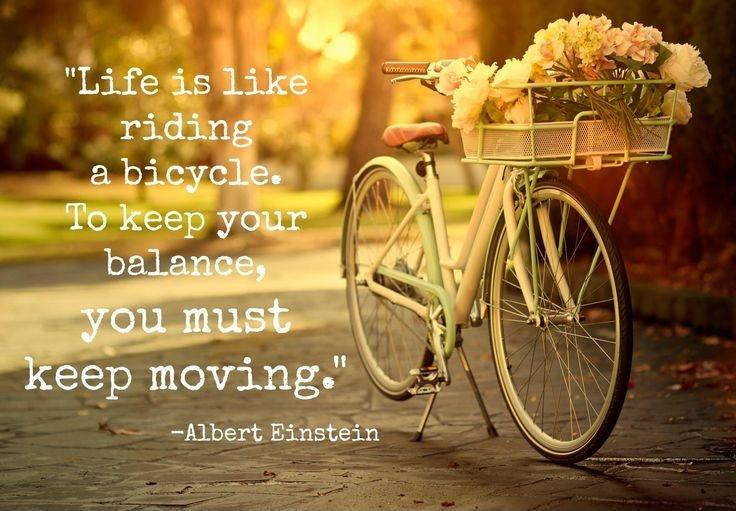 Life is like riding a bicycle. To keep your balance, you must keep moving Picture Quote #4