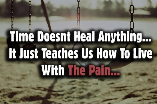Time doesn't heal anything, it just teaches us how to live with the pain Picture Quote #1