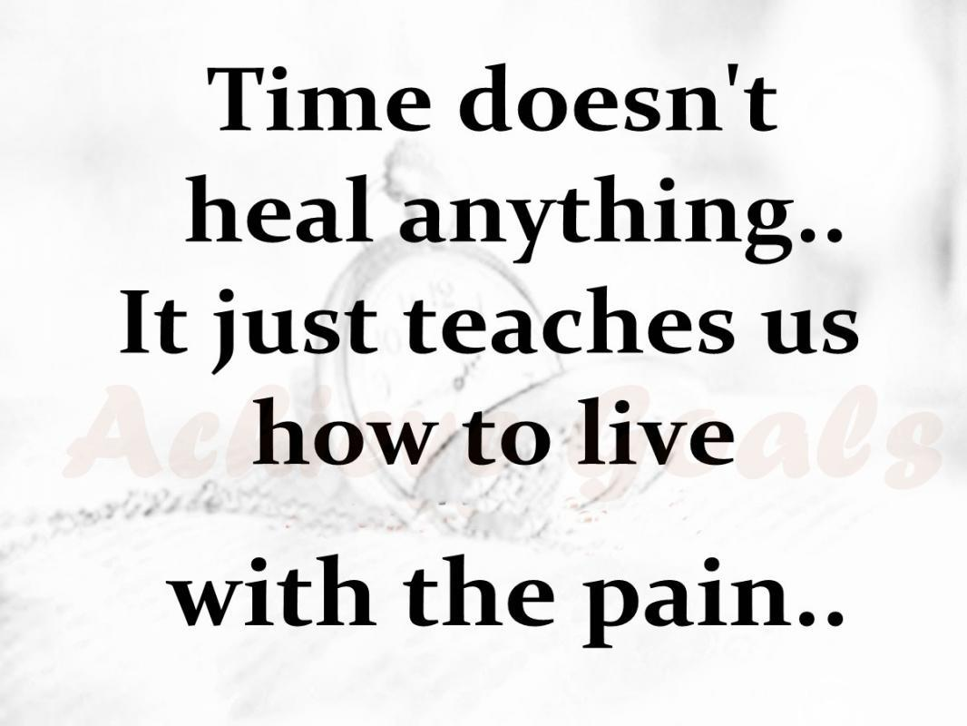 Time doesn't heal anything, it just teaches us how to live with the pain Picture Quote #2