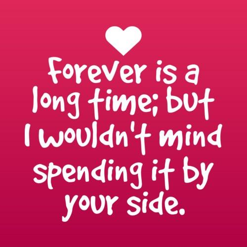 Forever is a long time but i wouldn't mind spending it by your side Picture Quote #1