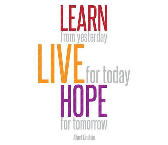 Learn from yesterday, live for today, hope for tomorrow Picture Quote #2