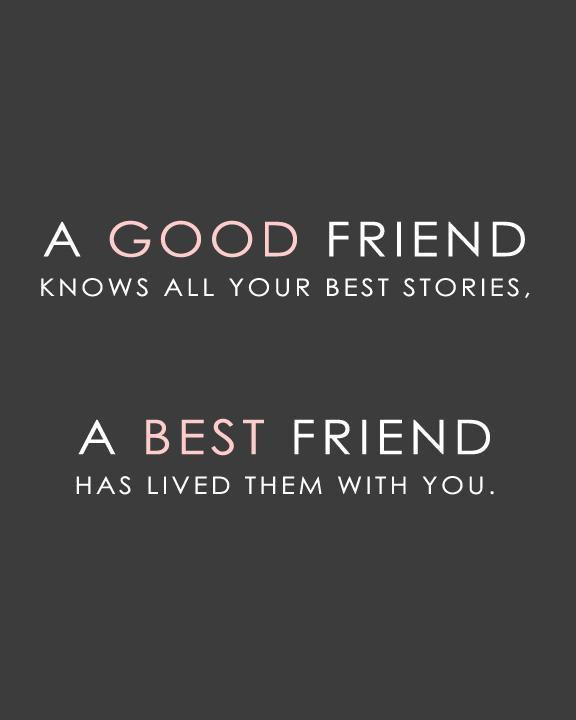 A good friend knows all your best stories, a best friend has lived them with you Picture Quote #1