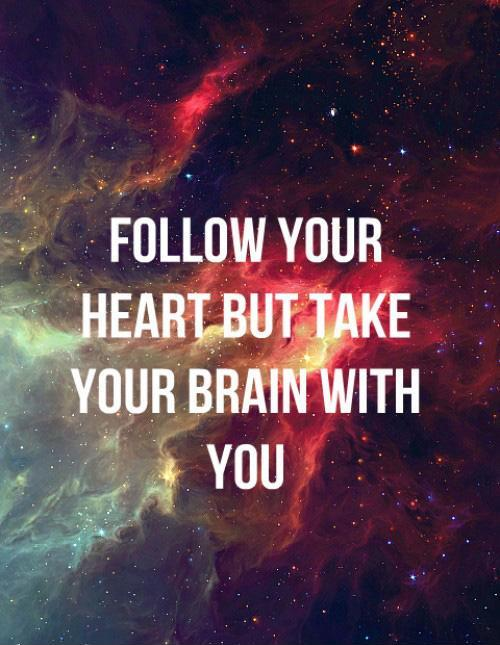 Follow your heart but take your brain with you Picture Quote #1