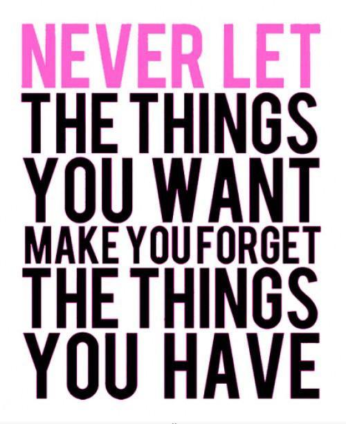 Never let the things you want make you forget the things you have Picture Quote #1