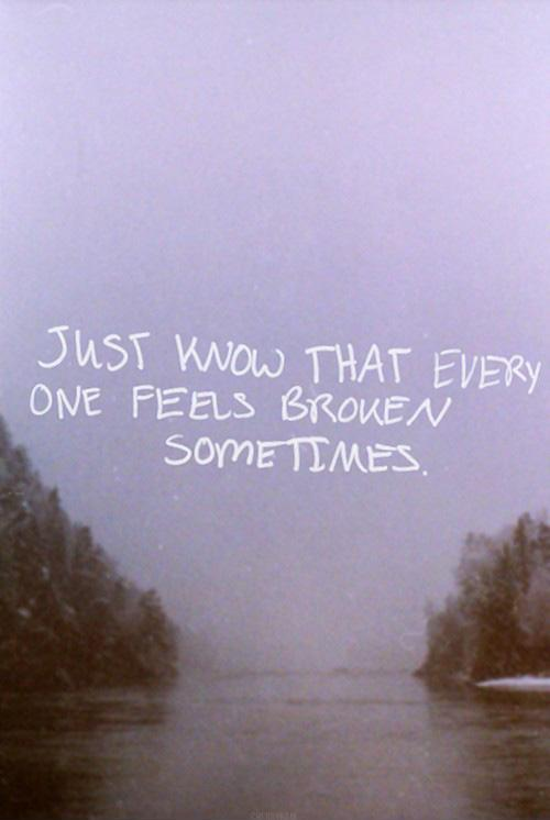 Just know that everyone feels broken sometimes Picture Quote #1