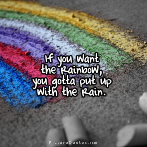 If you want the rainbow, you gotta put up with the rain Picture Quote #1