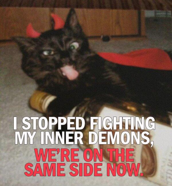 I stopped fighting my inner demons. We're on the same side now Picture Quote #1