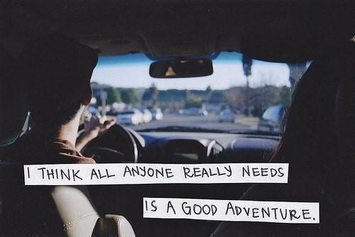 I think all anyone really needs is a good adventure Picture Quote #1