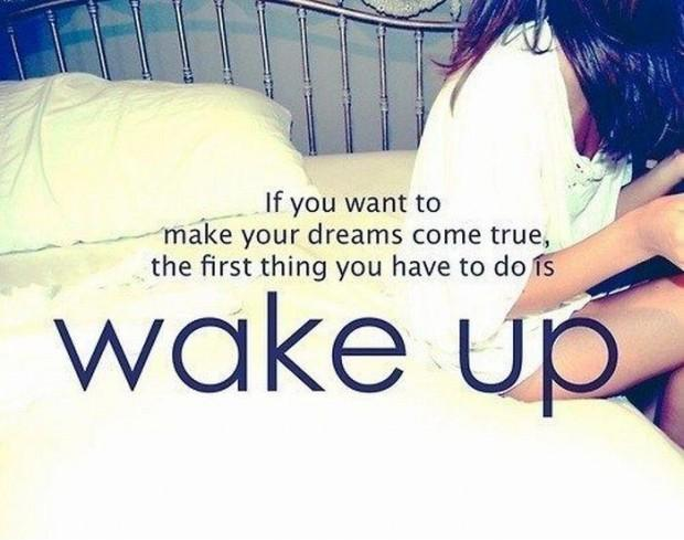 If you want to make your dreams come true, the first thing you have to do is wake up Picture Quote #1