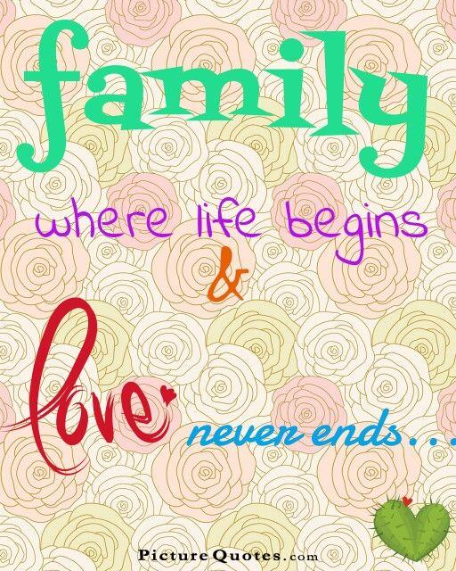 Family. Where life begins and love never ends Picture Quote #2