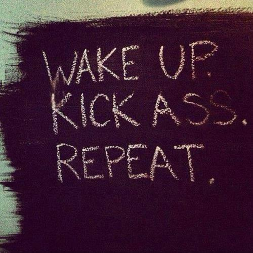 Wake up. Kick ass. Repeat Picture Quote #1