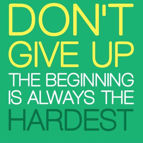Don't give up, the beginning is always the hardest Picture Quote #1