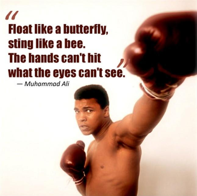 Float like a butterfly, sting like a bee. The hands can't hit what the eyes can't see Picture Quote #1