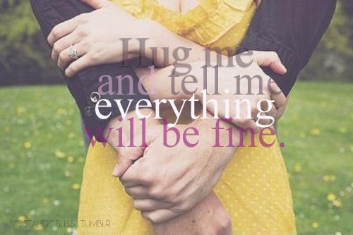 Hug me and tell me everything will be fine Picture Quote #1