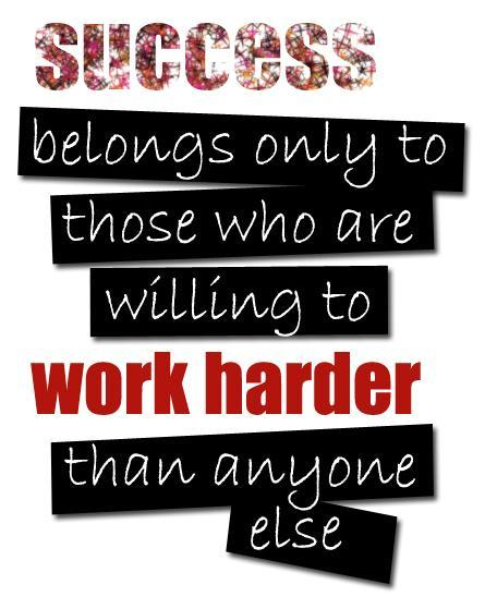Success belongs only to those who are willing to work harder than anyone else Picture Quote #1