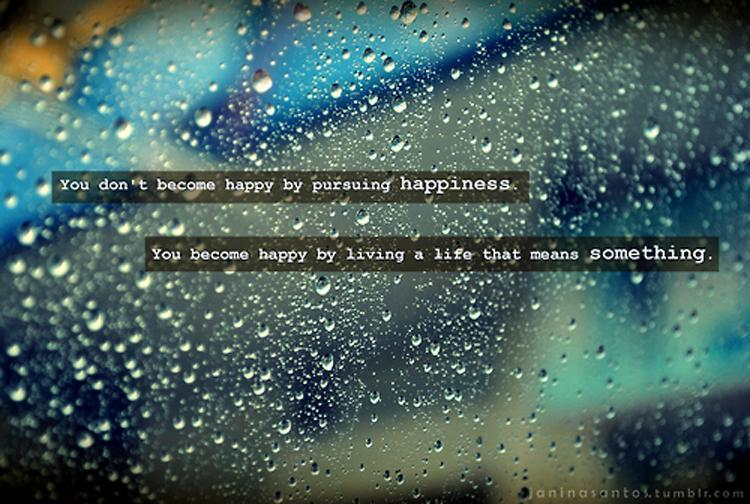 You don't become happy by pursuing happiness. You become happy by living a life that means something Picture Quote #2