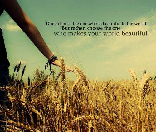 Don't choose the one who is beautiful in the world. But, rather, choose the one who makes your world beautiful Picture Quote #1