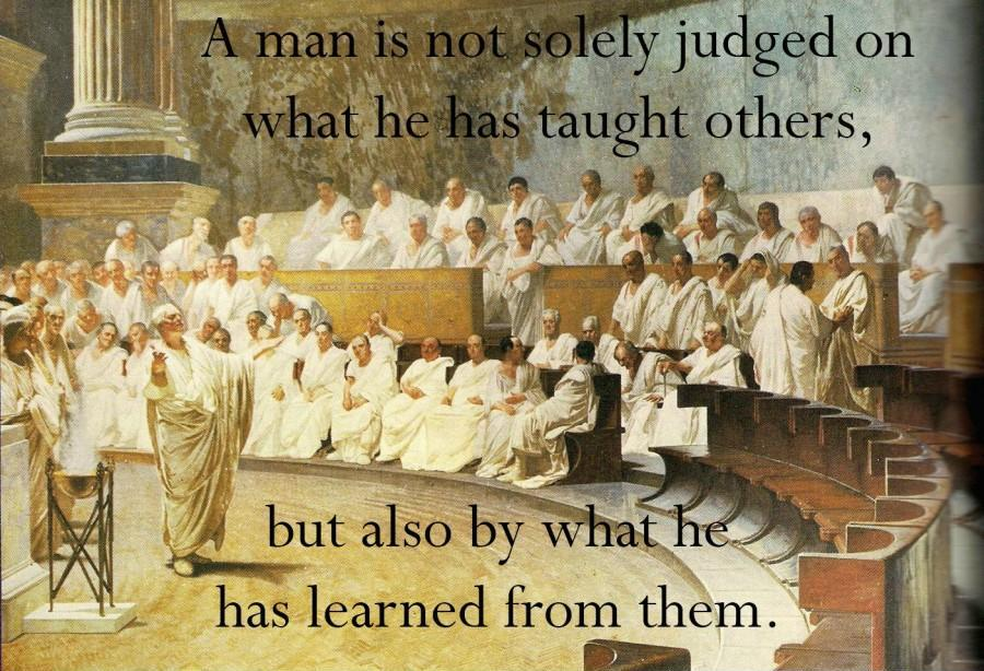 A man is not solely judged on what he has taught others, but also by what he has learned from them Picture Quote #1