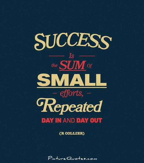 Success is the sum of small efforts repeated day in and day out Picture Quote #1