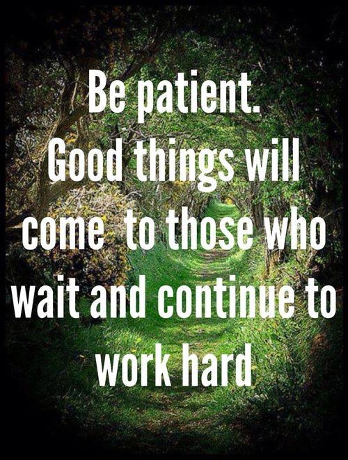 Be patient. Good things will come to those who wait and continue to work hard Picture Quote #1