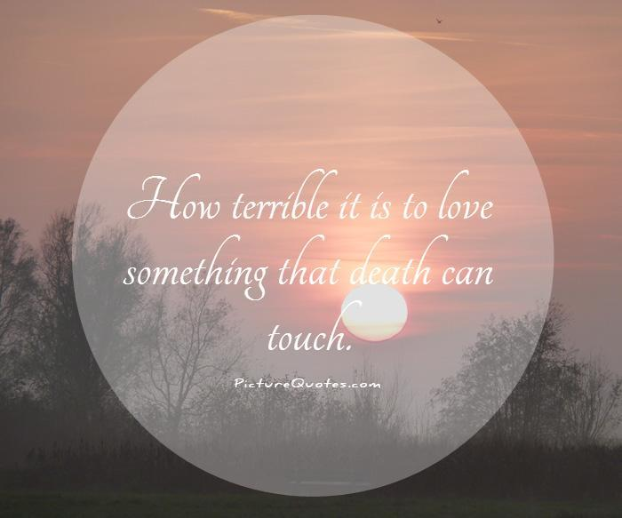 How terrible it is to love something that death can touch Picture Quote #1