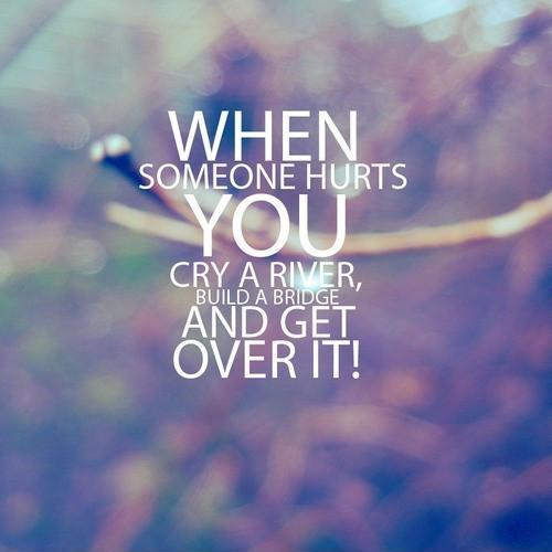 When somebone hurts you cry a river build a bridge and get over it Picture Quote #1