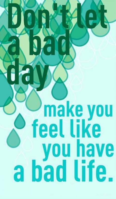 Don't let a bad day make you feel like you have bad life Picture Quote #1