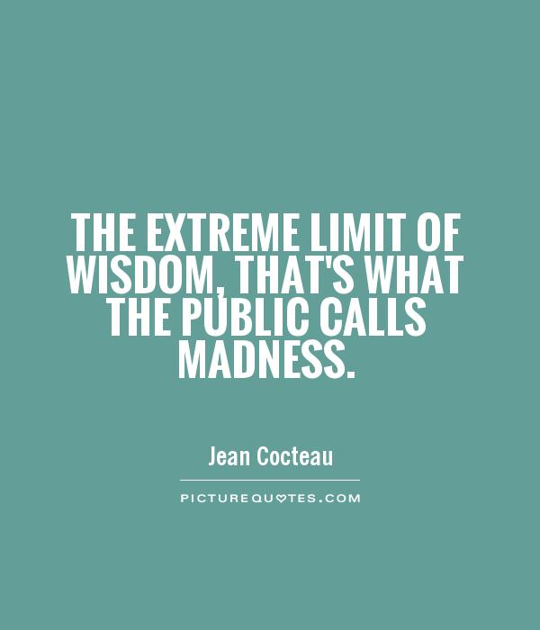 The extreme limit of wisdom, that's what the public calls madness Picture Quote #1