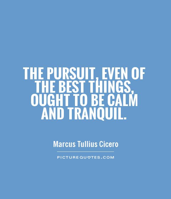 The pursuit, even of the best things, ought to be calm and tranquil Picture Quote #1