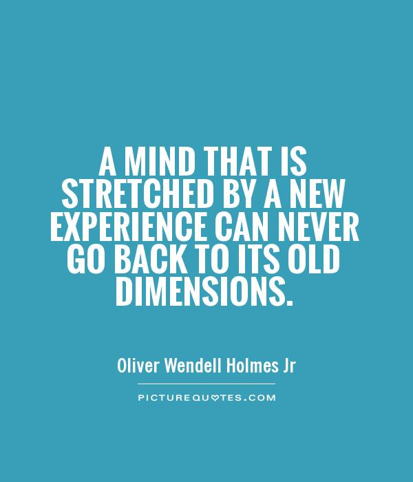 A mind that is stretched by a new experience can never go back to its old dimensions Picture Quote #1