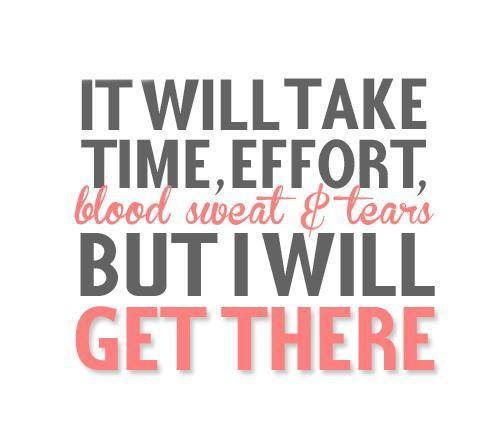 It will take time, effort, blood, sweat and tears. But i will get there Picture Quote #1
