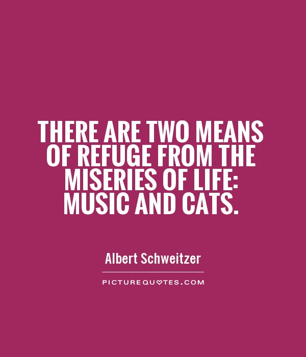 There are two means of refuge from the miseries of life: music and cats Picture Quote #1
