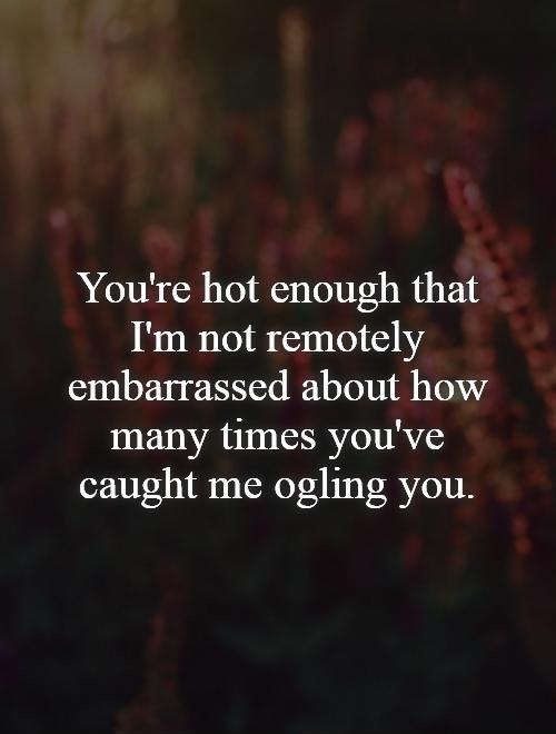 You're hot enough that I'm not remotely embarrassed about how many times you've caught me ogling you Picture Quote #1