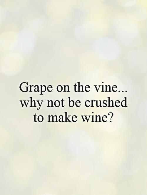 Grape on the vine... why not be crushed to make wine? Picture Quote #1