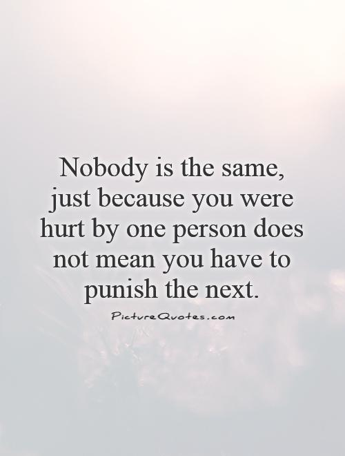 Nobody is the same, just because you were hurt by one person does not mean you have to punish the next Picture Quote #1