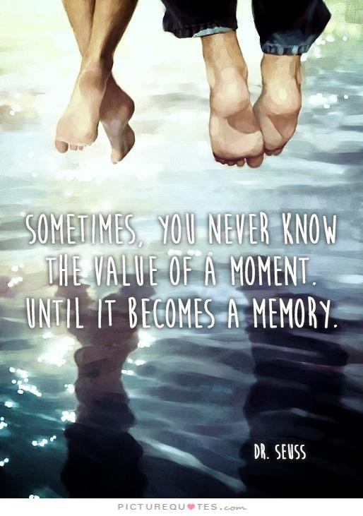 Sometimes you will never know the value of a moment until it becomes a memory Picture Quote #2