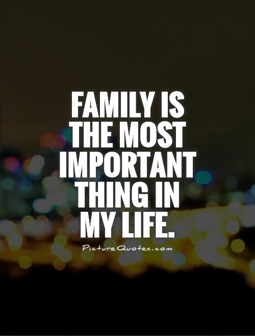 Family is the most important thing in  my life Picture Quote #1