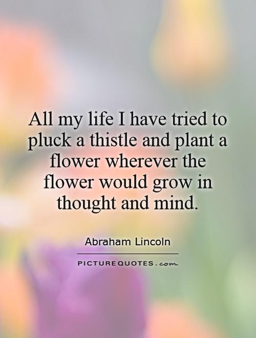 All my life I have tried to pluck a thistle and plant a flower wherever the flower would grow in thought and mind Picture Quote #1
