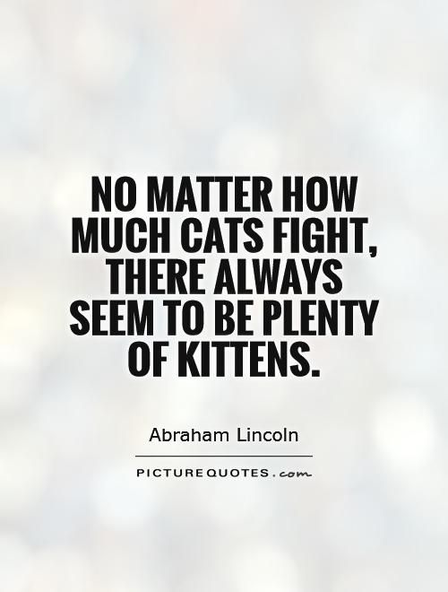 No matter how much cats fight, there always seem to be plenty of kittens Picture Quote #1