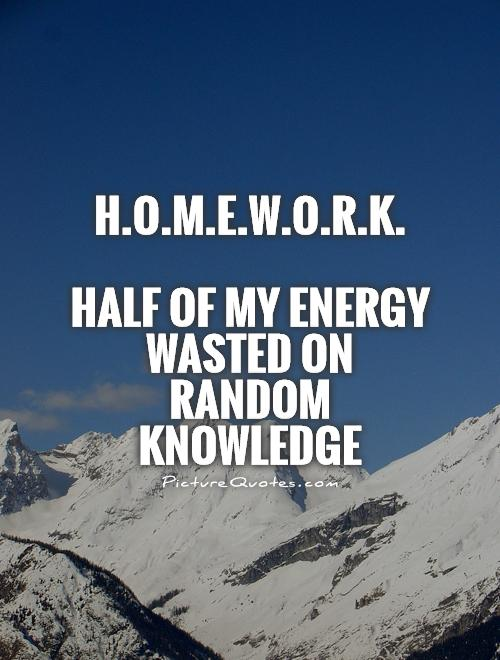 H.O.M.E.W.O.R.K.   Half of my energy wasted on random knowledge Picture Quote #1