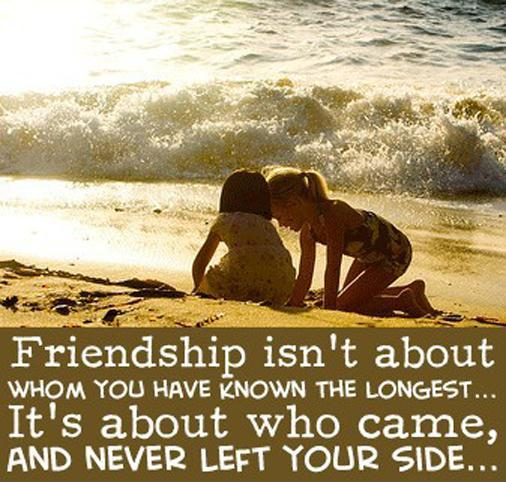 Friendship isn't about who you have known the longest. It's about who came, and never left your side Picture Quote #1