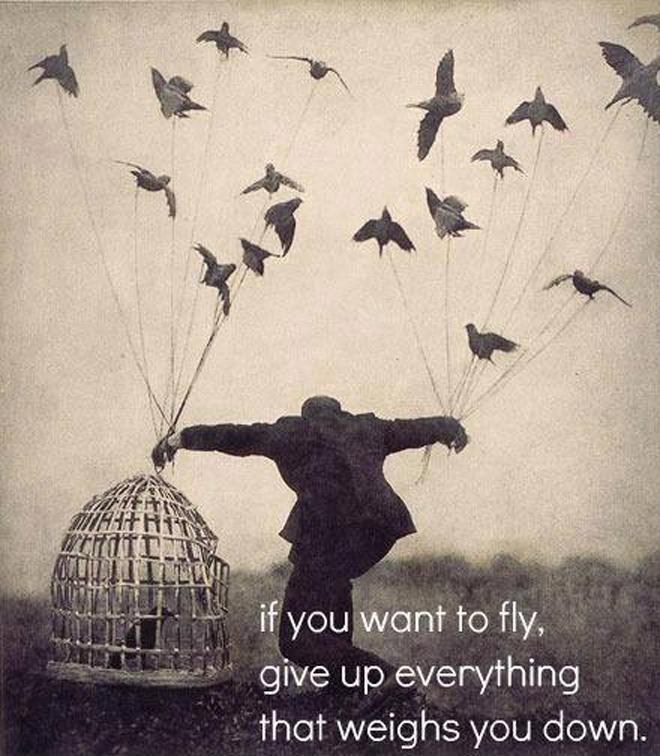 If you want to fly, give up everything that weighs you down Picture Quote #1