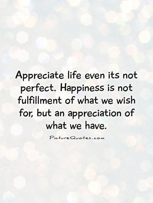 Appreciate life even its not perfect. Happiness is not fulfillment of what we wish for, but an appreciation of what we have Picture Quote #1