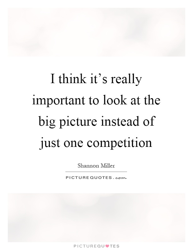 I think it's really important to look at the big picture instead of just one competition Picture Quote #1