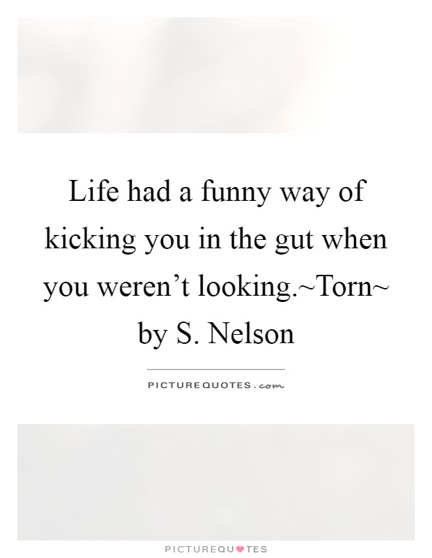 Life had a funny way of kicking you in the gut when you weren't looking.~Torn~ by S. Nelson Picture Quote #1