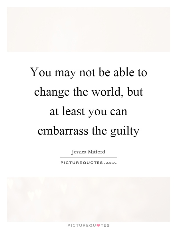 You may not be able to change the world, but at least you can embarrass the guilty Picture Quote #1