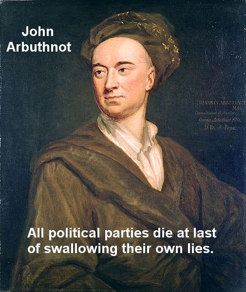 All political parties die at last of swallowing their own lies Picture Quote #1