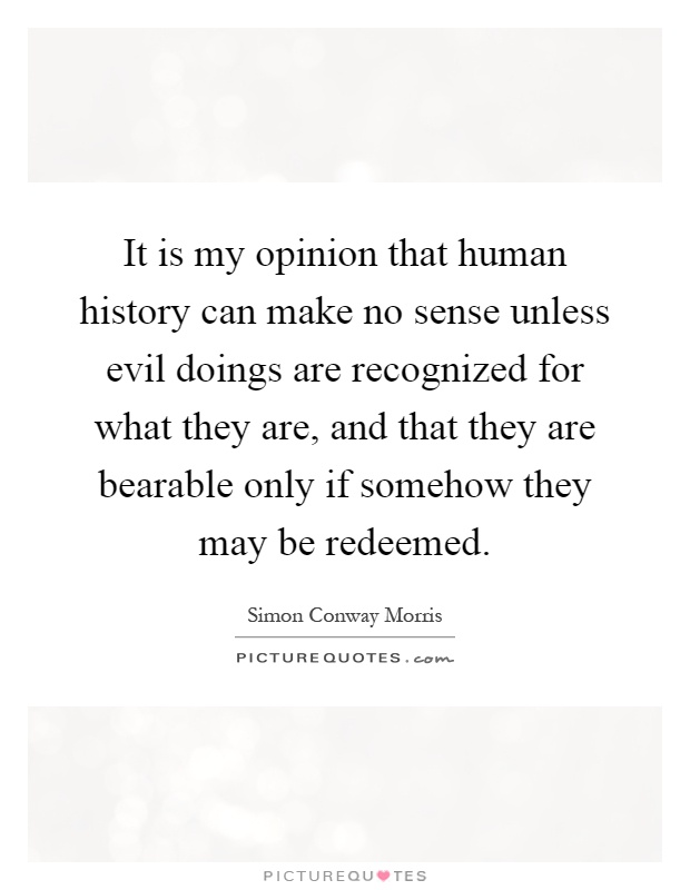 It is my opinion that human history can make no sense unless evil doings are recognized for what they are, and that they are bearable only if somehow they may be redeemed Picture Quote #1