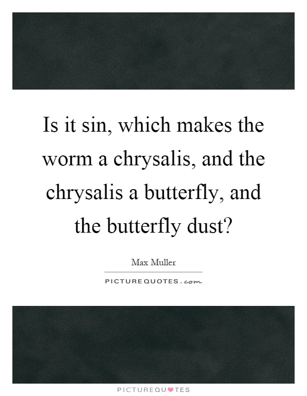 Is it sin, which makes the worm a chrysalis, and the chrysalis a butterfly, and the butterfly dust? Picture Quote #1