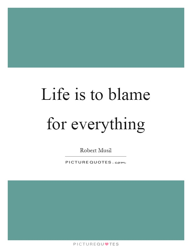 Life is to blame for everything Picture Quote #1